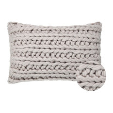 """Isla Contemporary Knit Throw Pillow Cover, 12""""x20"""", Taupe"""