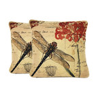 """Contemporary Dragonfly Cushion Throw Pillow Cover 18""""x18"""", 2-Piece"""