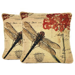 "Tache Home Fashion - Contemporary Dragonfly Cushion Throw Pillow Cover 18""x18"", 2-Piece - A perfect addition to an adventurer's home. This tranquil cushion cover features a beautiful dragonfly with gorgeous coloring. This beautiful woven cushion is an absolute must"