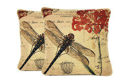 "Contemporary Dragonfly Cushion Throw Pillow Cover 18""x18"", 2-Piece"
