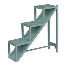 Stair Step Accent Table H31.50, Teal Blue