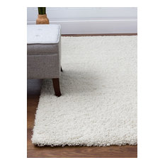 Super Area Rugs, Cozy Collection Thick Shag Rug, White, 8' X 10'