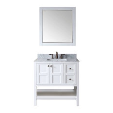 """Winterfell 36"""" Single Square Sink Top Vanity, White With Mirror"""