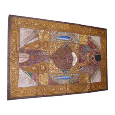 Mogulinterior - Brown Wall Tapestry Beaded Patchwork Sari Throw - Tapestries