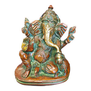 Mogul Interior - Ganesha Spiritual Statue Ganesh Brass Sculpture - Decorative Objects And Figurines