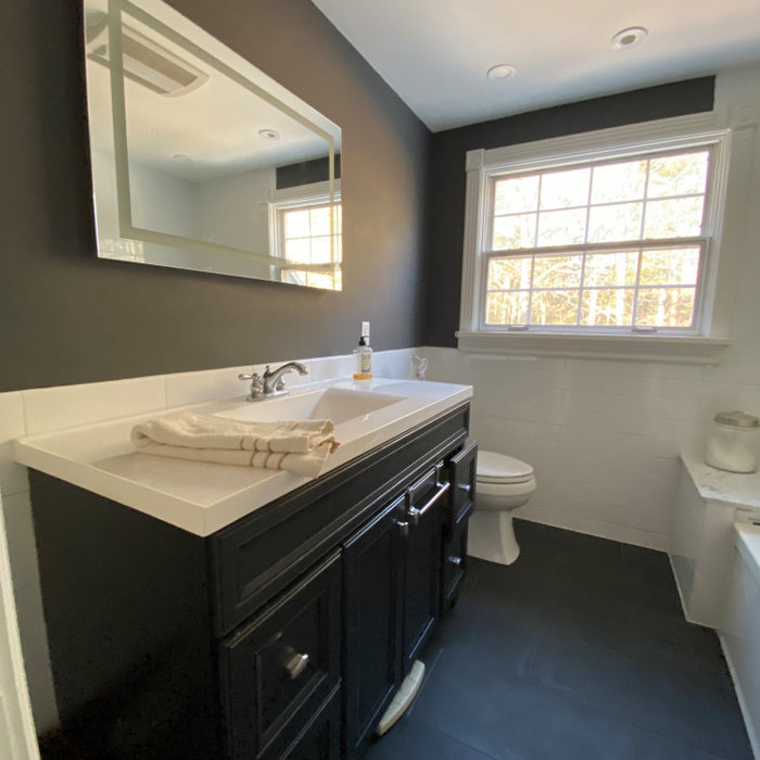 Contemporary Bathroom With White Subway Tile Wainscoting