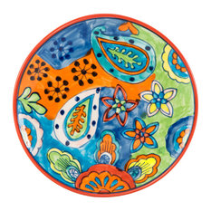 """Hand-Painted Paisley Ceramic Salad Plate, Set of 2, 8.5""""D, Paisley"""