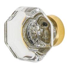 "Waldorf Crystal 1 3/8"" Cabinet Knob in Polished Brass"