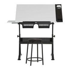 """Fusion Craft Art Center with 24"""" Tray, Charcoal, White"""