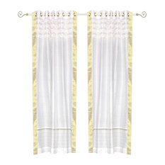 White Hand Crafted Grommet Top  Sheer Sari Curtain Drape Panel-43W x 108L-Piece