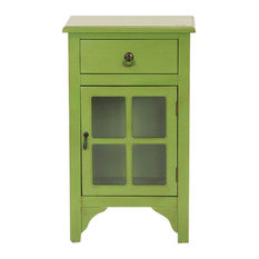 Green Wood Clear Glass Accent Cabinet With A Drawer A Door And Paned Inserts