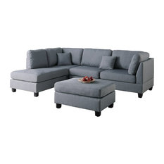 Adarn   Fabric Reversible 3 Piece Sectional Chaise Sofa Set, Ottoman  Pillows, Gray
