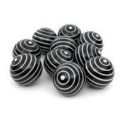 "3"" White Stripes Porcelain Ball Set"