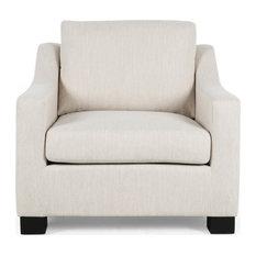 Casen Fabric Club Chair, Beige, Dark Brown
