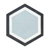 Black-Gray-White Hexagon Cement Tile, Sample
