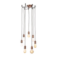Alton Industrial Style 7-Light Ceiling Cluster Pendant, Copper