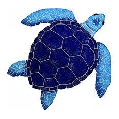 Ceramic Tile Designs, Loggerhead Turtle, Blue, Large