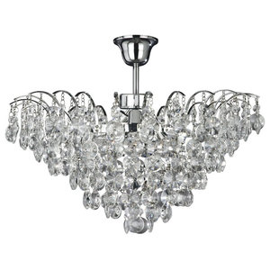 Limoges 3-Light Chrome Semi Flush Crystal Pendant
