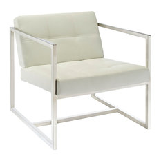 Upholstered Accent Vinyl Lounge Chair, White