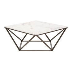 America Luxury   Modern Contemporary Living Lounge Room Coffee Table, White  Brass, Faux Marble