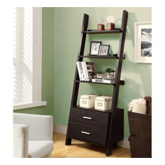 Monarch 69-inch Ladder Bookcase With 2 Storage Drawers In Cappuccino
