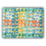 """Joita, llc - Quibblet Orange Indoor/Outdoor Placemats, Finished Edge, Set of 2 - Set of 2 - QUIBBLET (orange) is a fun, enlarged print in aqua, orange, yellow green, and blue on a white background. Constructed with outdoor rated fabric and thread. Printed pattern on polyester fabric. To maintain the life of the placemat, bring indoors or protect from the elements when not in use. Machine washable cold, delicate. Lay flat to dry. Do not dry clean. Set of two placemats, 13"""" x 17 3/4"""" each."""