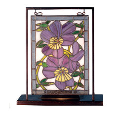 "9 5""Wx10 53""H Pansies Lighted Mini Tabletop Window"