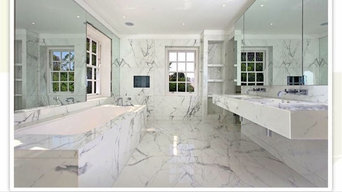 Bookmatched Marble bathroom