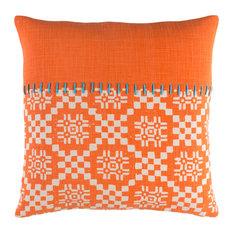 "Arminda Geometric Poly Filled Accent Pillow Bright Orange 18""x18""x4"""