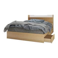 Nexera - Alegria 3 Drawer Storage Bed and Headboard, Natural Maple and White - Platform Beds