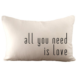 """Contemporary Decorative Pillows """"All You Need is Love"""" Throw Pillow"""