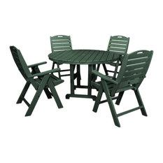 Polywood Nautical 5-Piece Dining Set, Green