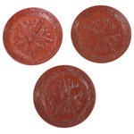 Golden Lotus - Chinese Red Resin Lacquer Round Flower Motif Plate 3 Pieces Hws999 - This is a handmade Chinese accent decorative plate made of resin lacquer mixed material. The surface is carved with a relief pattern of oriental flower and pattern. ( not for food serving). Set of 3 pieces.