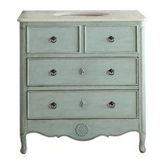 Chans Furniture 34 Distress Light Blue Daleville Bathroom Sink Vanity With Mirror