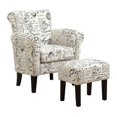 Monarch Fabric Script Accent Chair With Ottoman, Off White and Black French