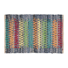 Jodie Boho Denim and Cotton Scatter Rug, Blue and Multi Colored, 2'x3'