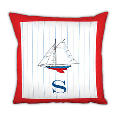 Square Pillow Sailboat Single Initial, Letter G