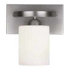 Canarm Hampton 1-Light Vanity With Line Painted Glass, Brushed Nickel Finish
