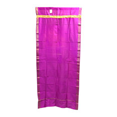 Mogulinterior - Brocade Silk Saree Drapes Curtain, Fuchsia Pink - Curtains