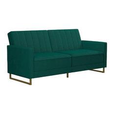 Novogratz Skylar Modern Coil Futon/Sofa Bed, Green