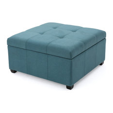 GDF Studio Carlyle Dark Blue Fabric Storage Ottoman, Dark Teal Fabric