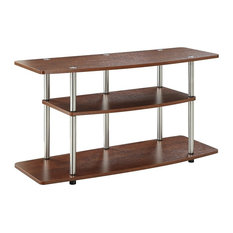 Contemporary TV Stand Wood And Stainless Steel Poles With 3-Open Shelve Cherry
