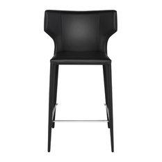 Wayne Stool Seat Matte Black Counter Height Base Matte Black Leather