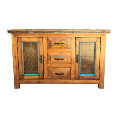 Taos 48-inch Rustic Vanity With Metal Inserts Fruitwood With Turquoise