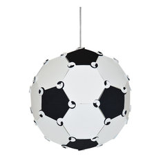 Goal 1-Light Soccer Ball Pendant, Black and White