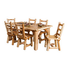 7-Piece Rustic White Cedar Log Family Dining Table Set With 6 Chairs