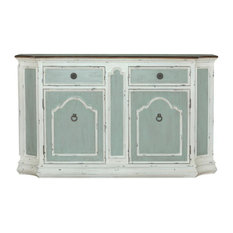 Home Fare Four Door Shabby Chic TriTone Sideboard In Antique Green