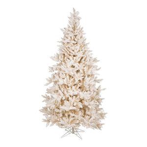 7.5' Flocked Vintage-Style Fir Tree, 1991 PVC Tips, 700 Italian Warm White LED