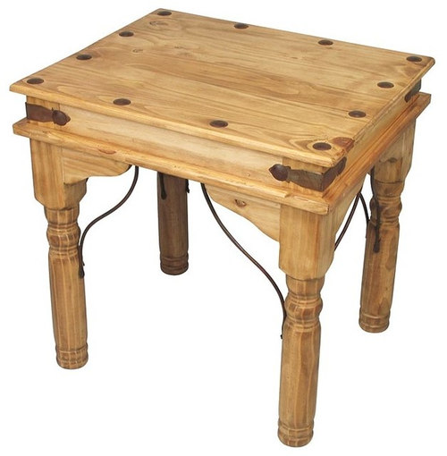 Mexican Pine End Table With Wrought Iron   Side Tables And End Tables