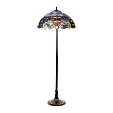 Chloe Lighting Nora Tiffany Style Victorian 2 Light Floor Lamp